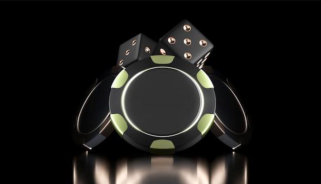 Kasyno w tle. kasyno 3d żetony i kości. baner kasyna online. czarno-złoty realistyczny układ. pojęcie hazardu, ikona aplikacji mobilnej pokera.