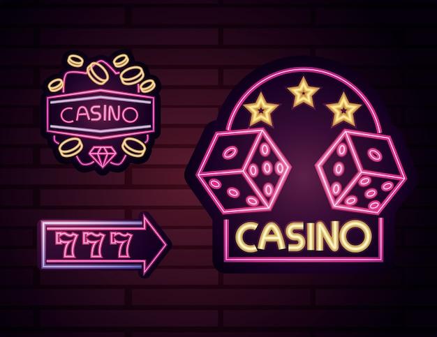 Kasyno, zestaw jasnych neonów reklamowych w nocy hazardu