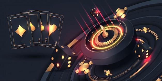 Kasynowe karty pokera i baner koła ruletki