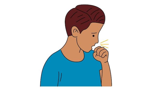 Kaszel chory człowiek z przeziębieniem grypy i wirusem