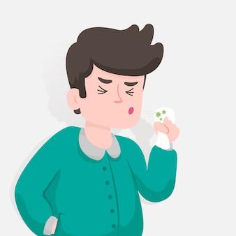 Kaszel motyw ilustracja osoba