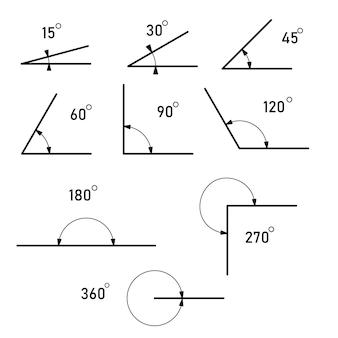 Kąt różne stopnie. symbol geometrii, matematyki. zestaw ikon wektorowych składający się z kątów o różnych stopniach. ilustracja wektorowa
