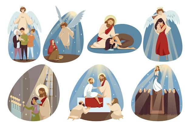 Kąt zbierania jesus chrsit syn boga maryi dziewicy