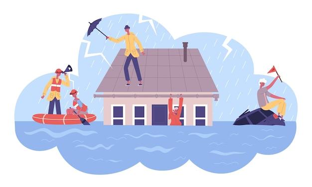 Kataklizm naturalny, katastrofy powodziowe zabezpieczają serwis łodzi ratowniczych. uratowani uratowani ludzie z ilustracji wektorowych zalanego domu. ratownicy klęsk żywiołowych powodziowych