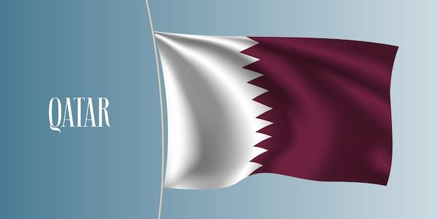 Katar macha flagą. ikoniczny element projektu jako narodowa flaga kataru
