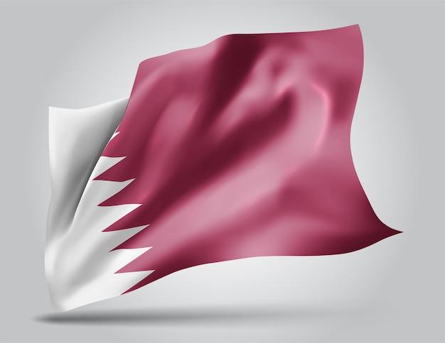 Katar, wektor flaga z falami i zakrętami macha na wietrze na białym tle.