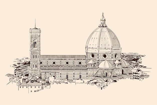 Katedra najświętszej marii panny we florencji. ogólny widok na miasto. naszkicuj na beżowym kolorze
