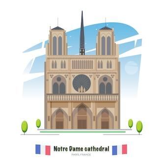 Katedra notre dame w paryżu - wektor