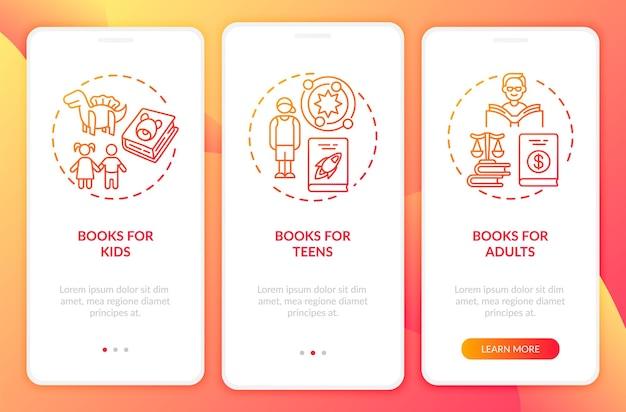 Kategorie biblioteki online wprowadzające ekran strony aplikacji mobilnej z koncepcjami. opis różnych książek 3 kroki. szablon ui z kolorowymi ilustracjami rgb