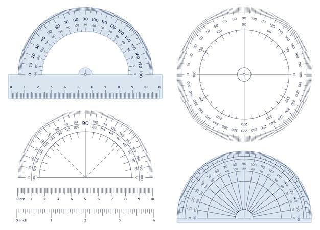 Kątomierz. narzędzie do pomiaru kątów, okrągła skala kątomierza 360 i zestaw ilustracji do pomiarów 180 stopni.