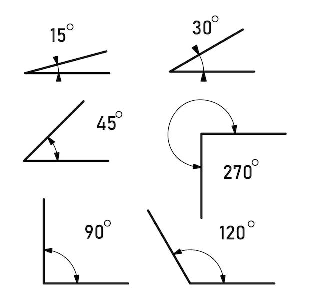 Kąty o różnych rozmiarach. zestaw ikon kątów. znak na białym tle matematyki.