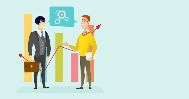 Kaukascy biznesmeni dyskutuje analizę rynku.