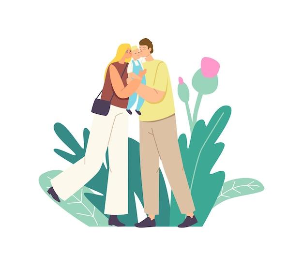 Kaukascy rodzice całują dziecko. matka i ojciec kochające szczęśliwe postacie rodzinne trzymające słodkie dziecko na rękach przytulanie i całowanie wyrażają miłość i czułość. ilustracja wektorowa kreskówka ludzie
