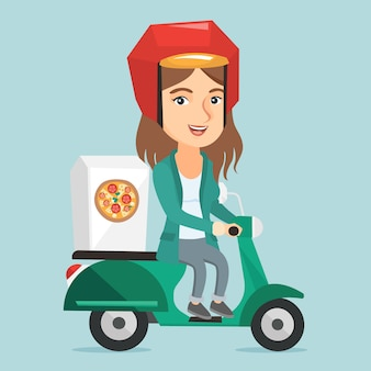 Kaukaska kobieta dostarcza pizzę na hulajnoga.