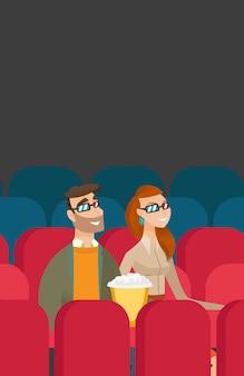 Kaukaska para ogląda film 3d w kinie