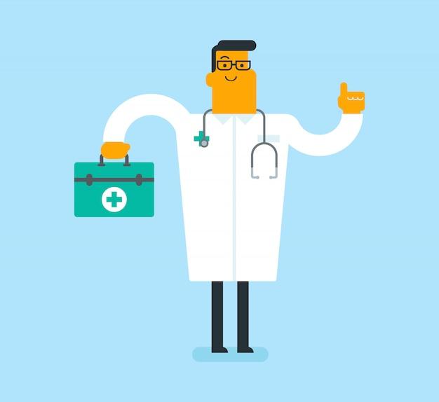 Kaukaski biały lekarz trzyma apteczkę pierwszej pomocy.