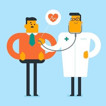Kaukaski lekarz słucha serca pacjenta