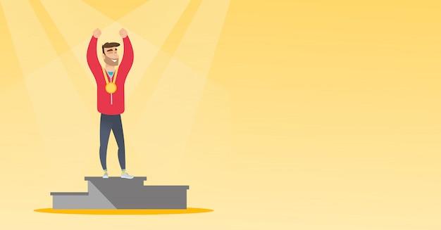 Kaukaski sportowiec świętuje na podium zwycięzców.