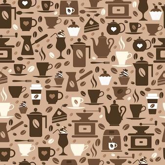 Kawa bez szwu wzór z kubki brązowy tekstury ikon kawy