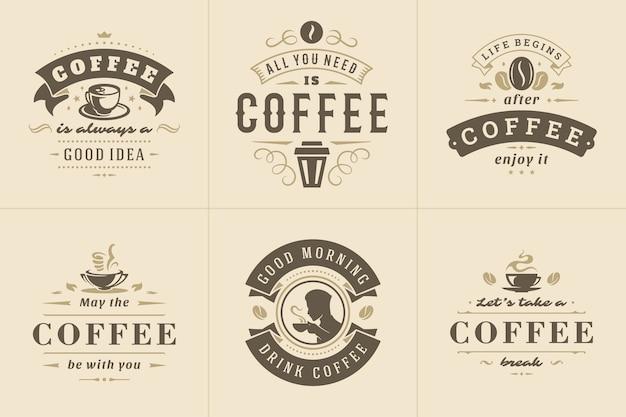 Kawa cytuje zestaw ilustracji w stylu vintage typograficzne inspirujące zwroty