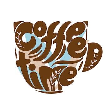 Kawa czas napis art w kształcie filiżanki.