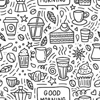 Kawa doodle wzór. dzień dobry tło z fasolą, filiżankami, kubkami i deserami do menu sklepu lub kawiarni