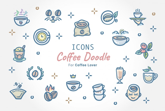 Kawa doodle zestaw ikon