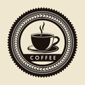 Kawa etykieta na beżowym tle ilustracji wektorowych