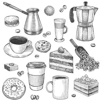 Kawa i desery. naszkicuj dzbanek do kawy i ekspres. filiżanki, ciasta i ciasteczka, babeczki, pączki. wypieki, słodkie śniadanie vintage wektor zestaw. łyżka i cezve do robienia napoju, kubki do latte, espresso