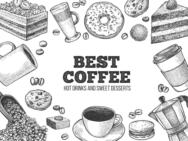 Kawa i desery. ręcznie rysowane gorące napoje i wypieki do kawiarni lub piekarni, fast food słodkie śniadanie grawerowane tło wektor. reklama kawiarni z pączkiem, ciastkiem, makaronikiem