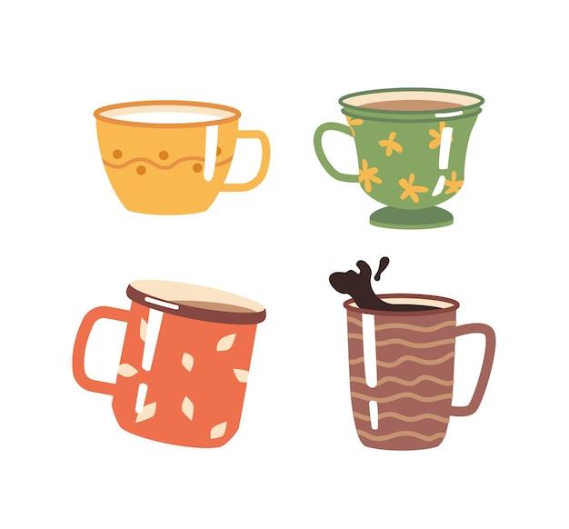 Kawa i herbata gorące napoje w filiżankach i kubkach ozdobionych ornamentami na białym cappuccino lub