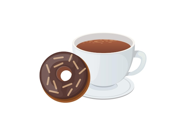 Kawa i słodki deser ilustracja na białym tle.