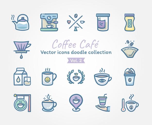 Kawa kawiarnia wektorowe ikony doodle kolekcję