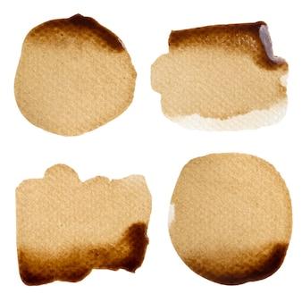 Kawa kropla na papierowym sztandarem lub kolekcja tła logo