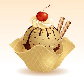 Kawa lody z koszem wafli