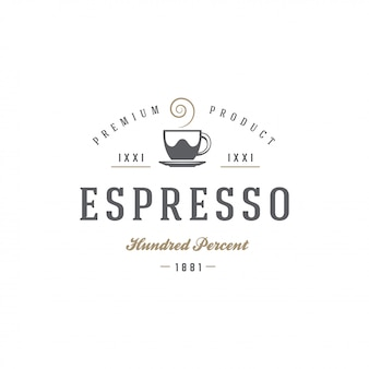 Kawa lub herbata sklep godło szablon kubek sylwetka z ilustracji wektorowych retro typografii