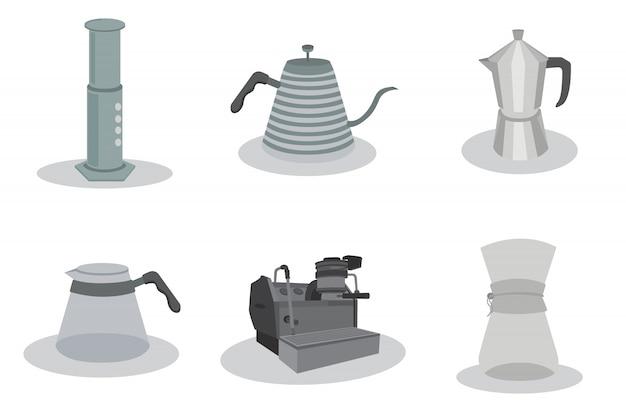 Kawa metody zestaw ikon wektorowych projektowania