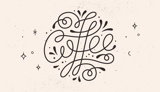 Kawa. monochromatyczne vintage rysować napis, typograficzne i kaligraficzne.