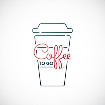 Kawa na wynos ikona linii na białym tle