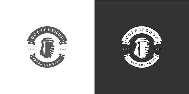 Kawa na wynos ilustracja szablon logo sklepu
