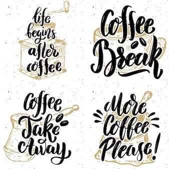 Kawa na wynos. poproszę więcej kawy. ręcznie rysowane napis cytaty na tło grunge. ilustracja