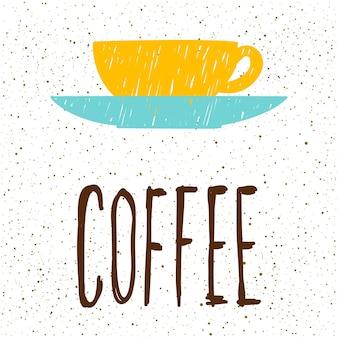 Kawa. odręczny napis i ręcznie robiony kubek do kawy na projekt karty, zaproszenia, koszulki, książki, banera, plakatu, albumu, albumu itp.