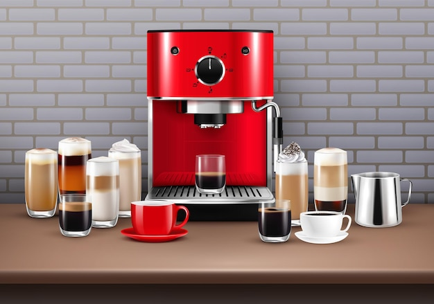 Kawa pije realistyczną ilustrację z ekspresem do kawy i filiżanką