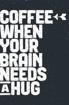 Kawa. plakat z ręcznie rysowanym napisem coffee