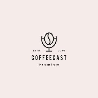 Kawa podcast logo hipster retro ikona rocznika do kawy blog wideo przegląd vlog kanał radiowy