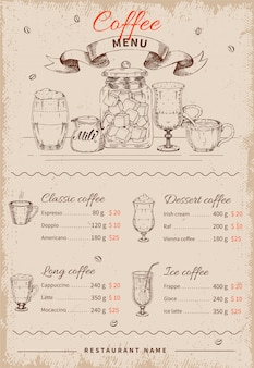 Kawa ręcznie rysowane menu restauracji
