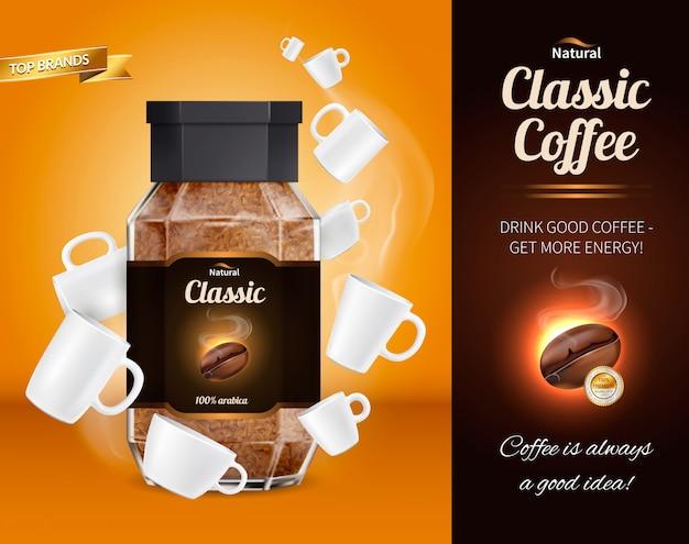 Kawa reklama realistyczny skład