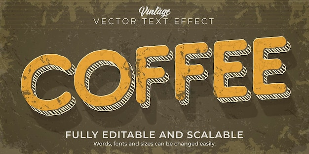 Kawa retro, efekt tekstowy vintage, edytowalny styl tekstu z lat 70-tych i 80-tych