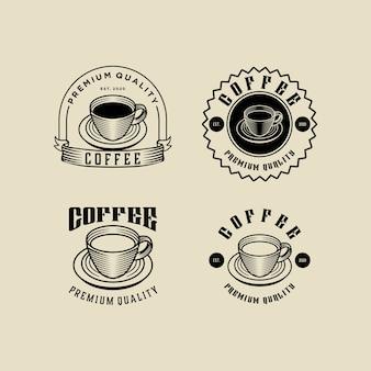 Kawa rocznika logo zestaw szablonu projektu