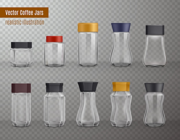Kawa rozpuszczalna pusta realistyczne szklane i plastikowe słoiki o różnych kształtach
